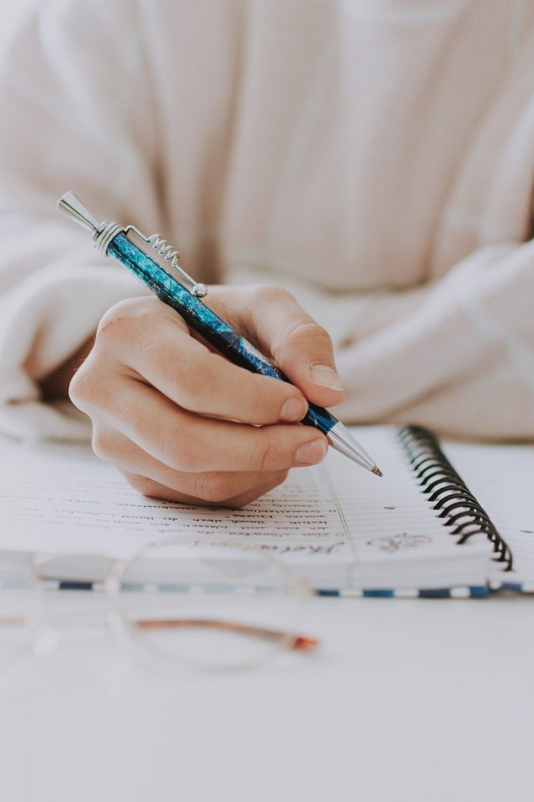 write, notebook, pen